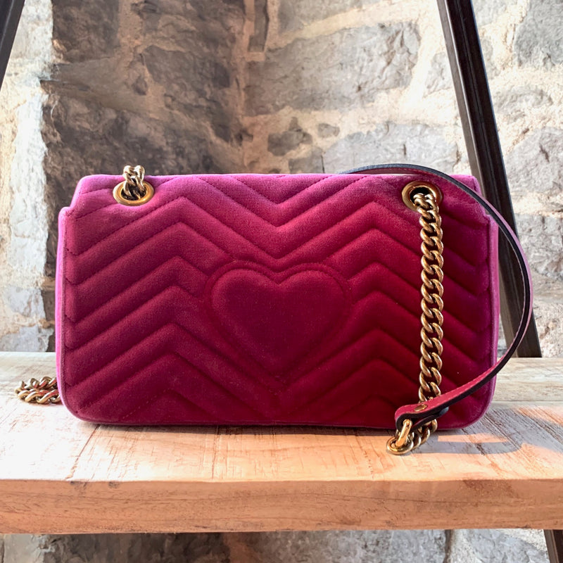 Gucci Pink Velvet Small Marmont Chain Bag