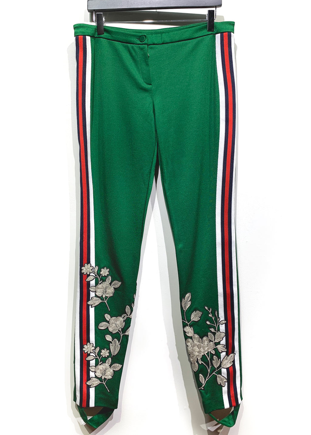 Gucci 2017 Runway Green Flower Embroidered Stirrup Mid-rise Leggings