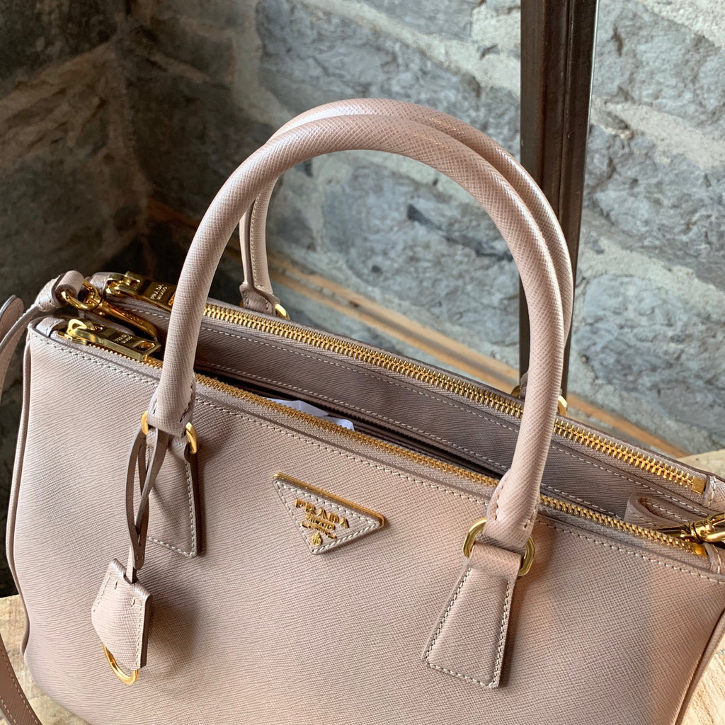 Prada Cipria Saffiano Leather Medium Galleria Handbag