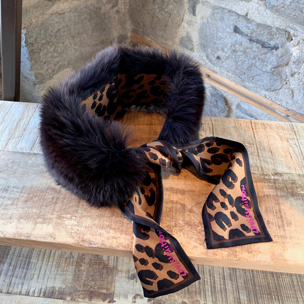 Louis Vuitton Stephen Sprouse Fox Fur Silk Bandeau Collar Scarf