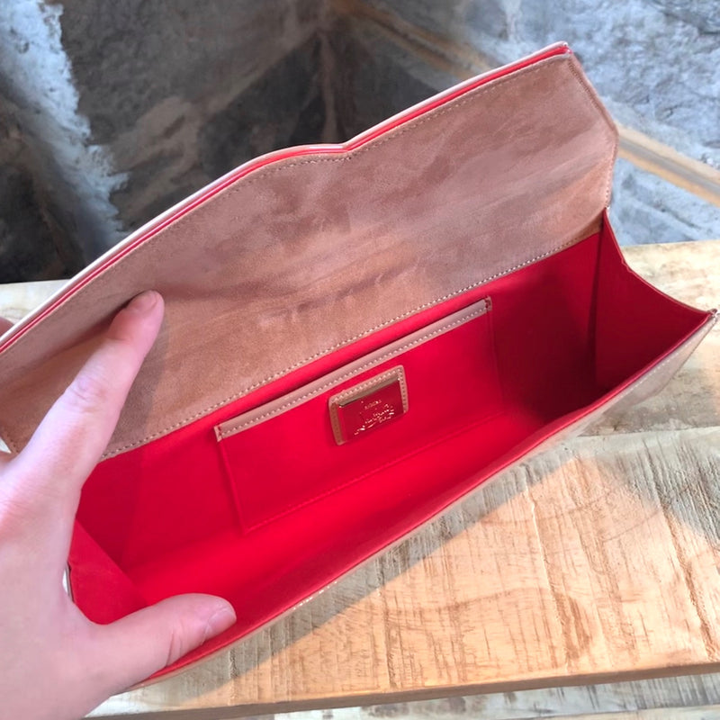 Christian Louboutin Nude Patent So Kate Baguette Clutch