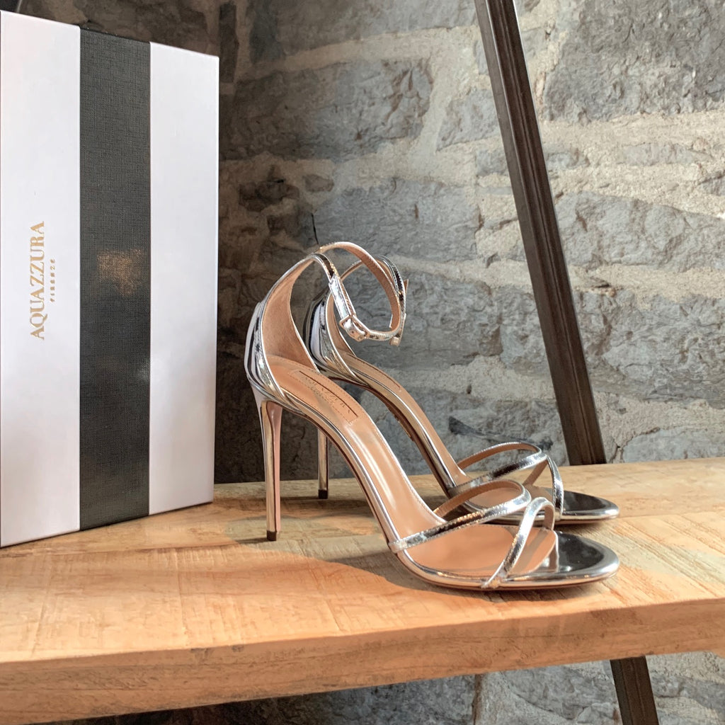 Aquazurra Purist Silver 105 Heeled Sandals