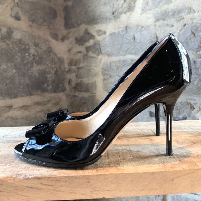 Jimmy Choo Black Patent Bow Open-toe Heels