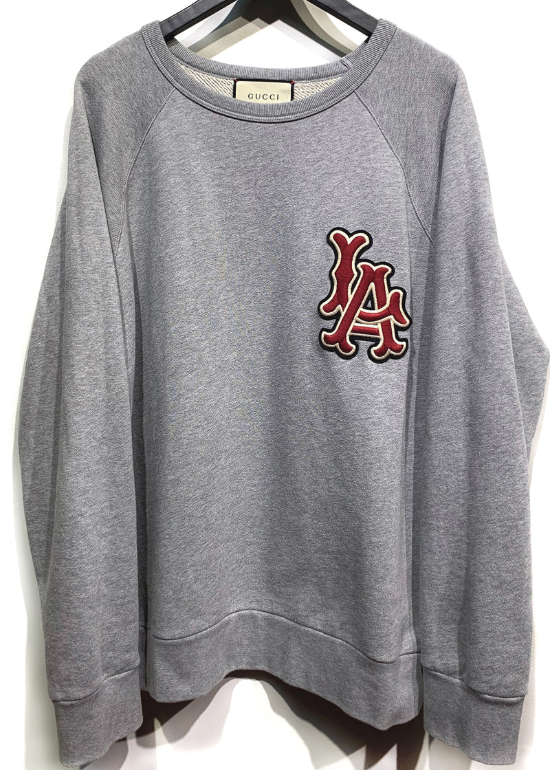 Gucci LA Logo Embroidered Baseball Theme Grey Sweatshirt