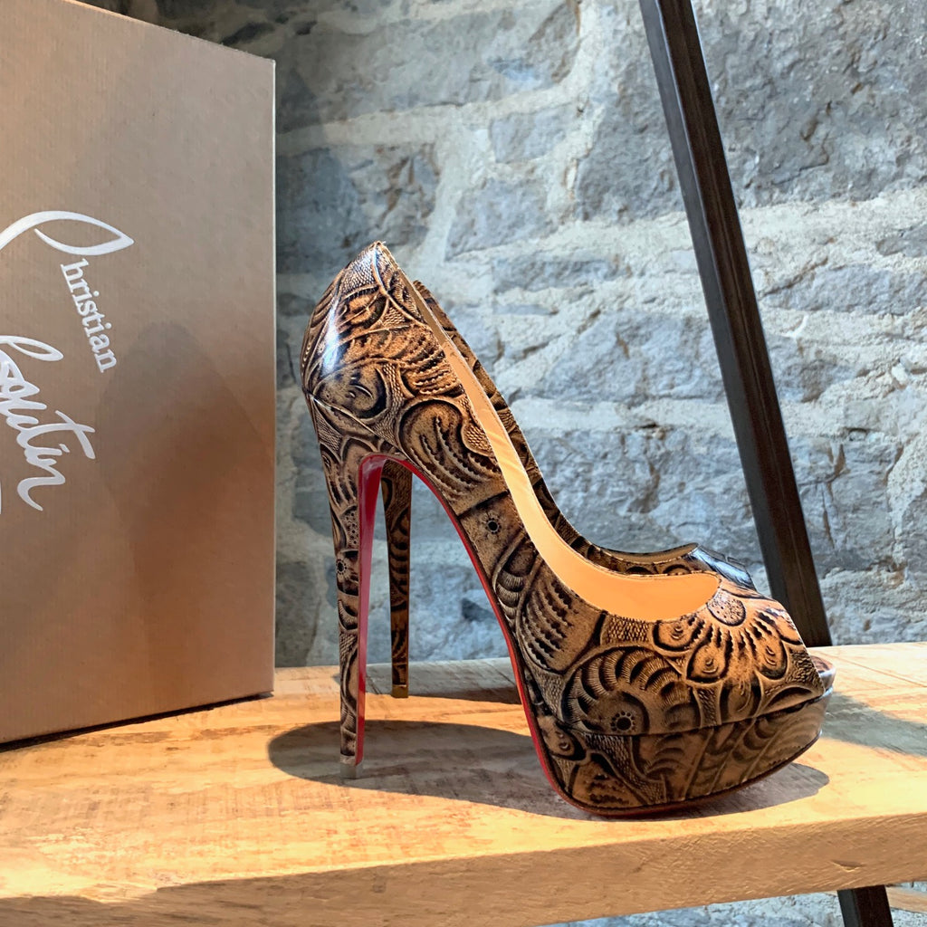 Christian Louboutin Rare Lady Peep Textured Leather Pump