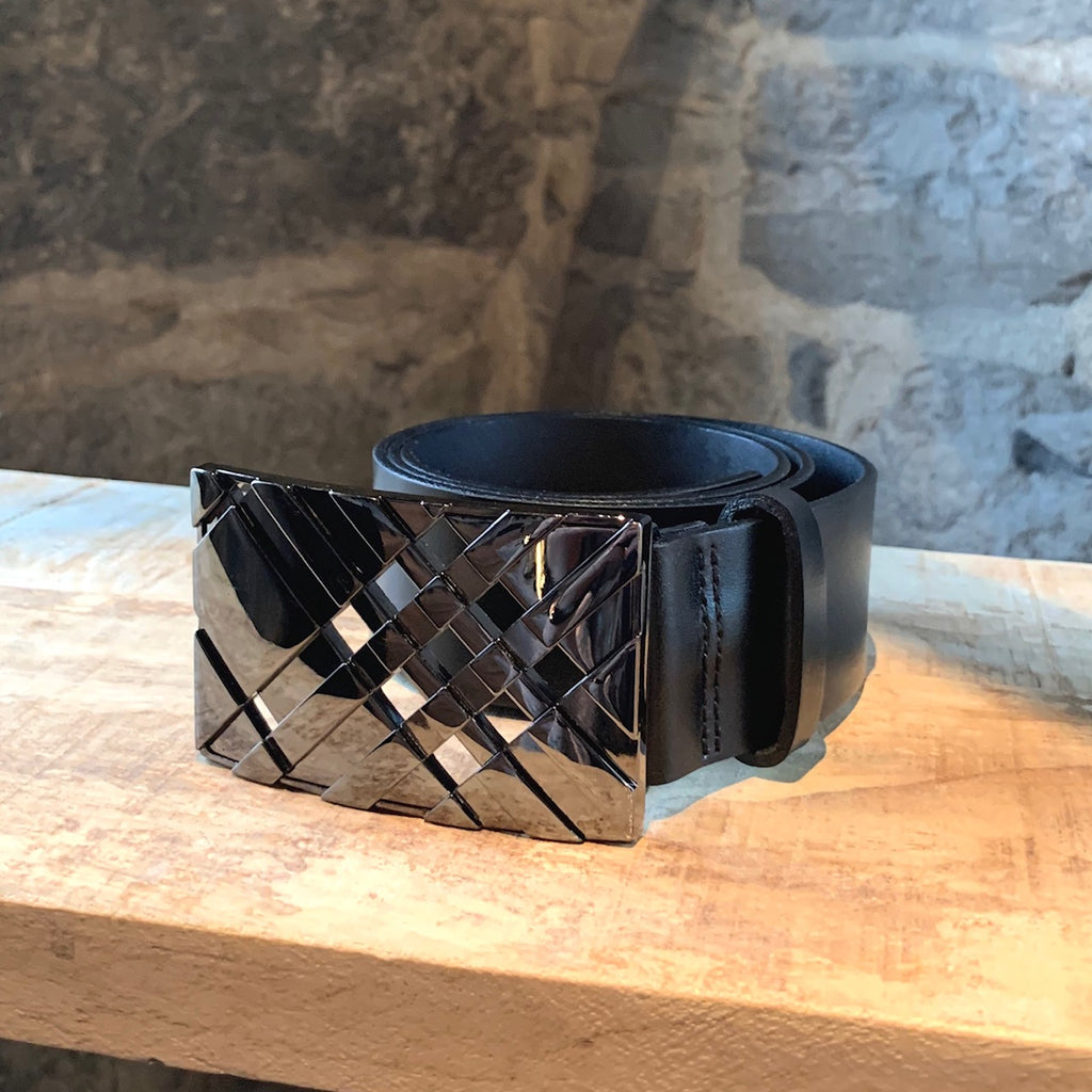 Burberry Black Leather Belt with Check London Buckle