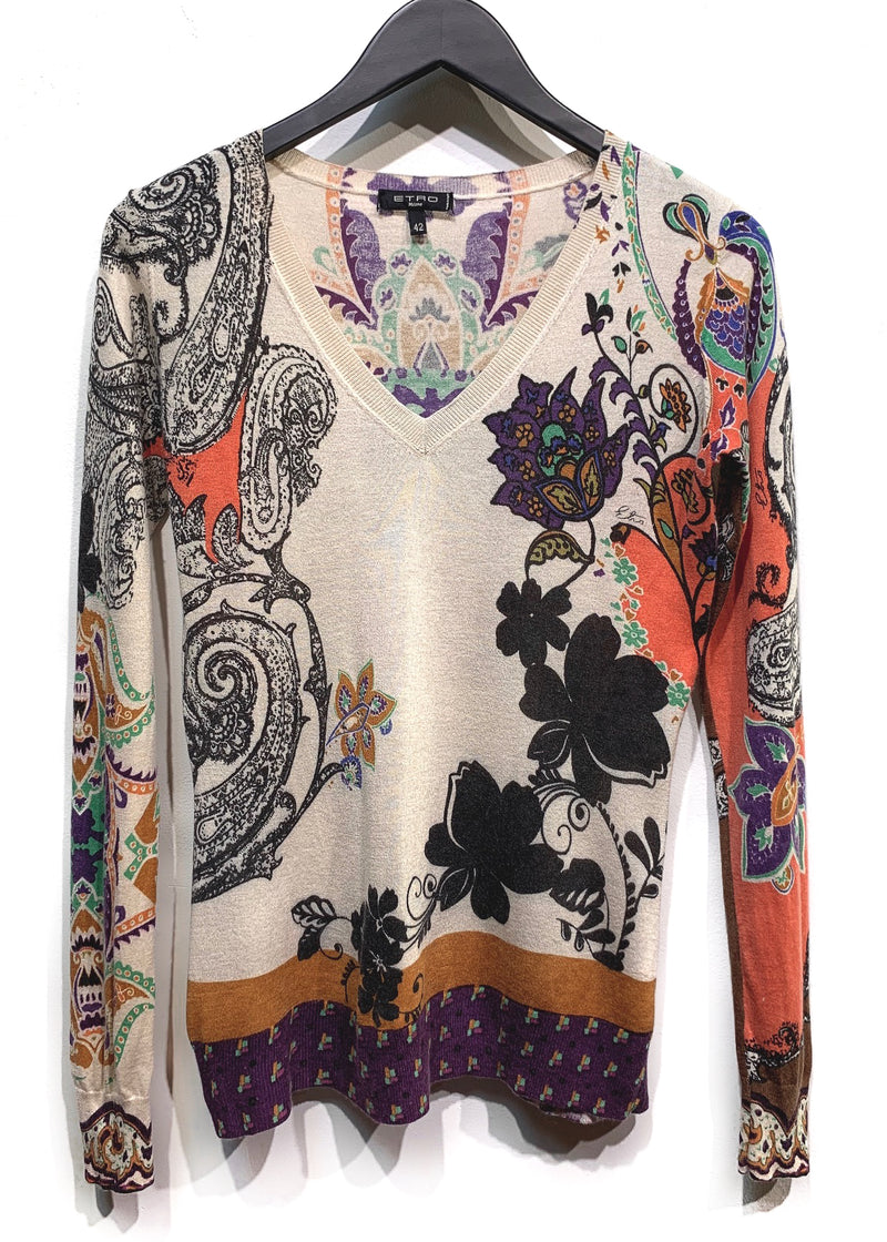 Etro Ivory Flower Paisley Printed Silk Cashmere V-neck Sweater