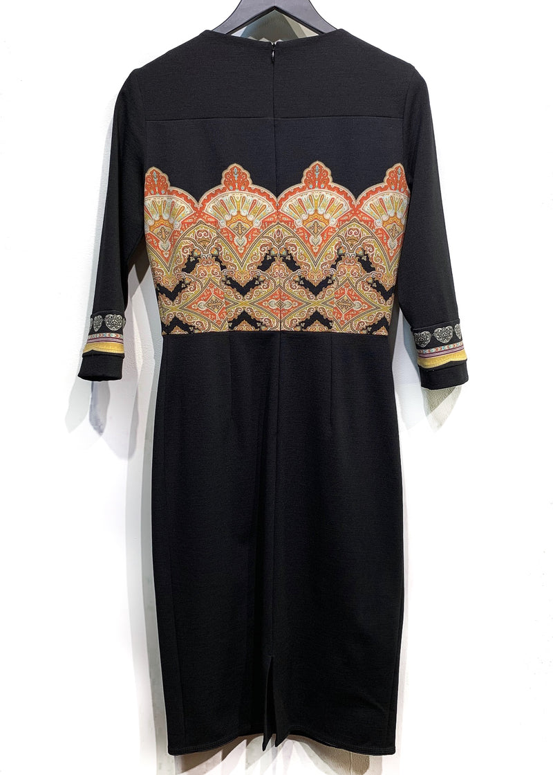Etro Black Orange Yellow Printed Stretch Dress