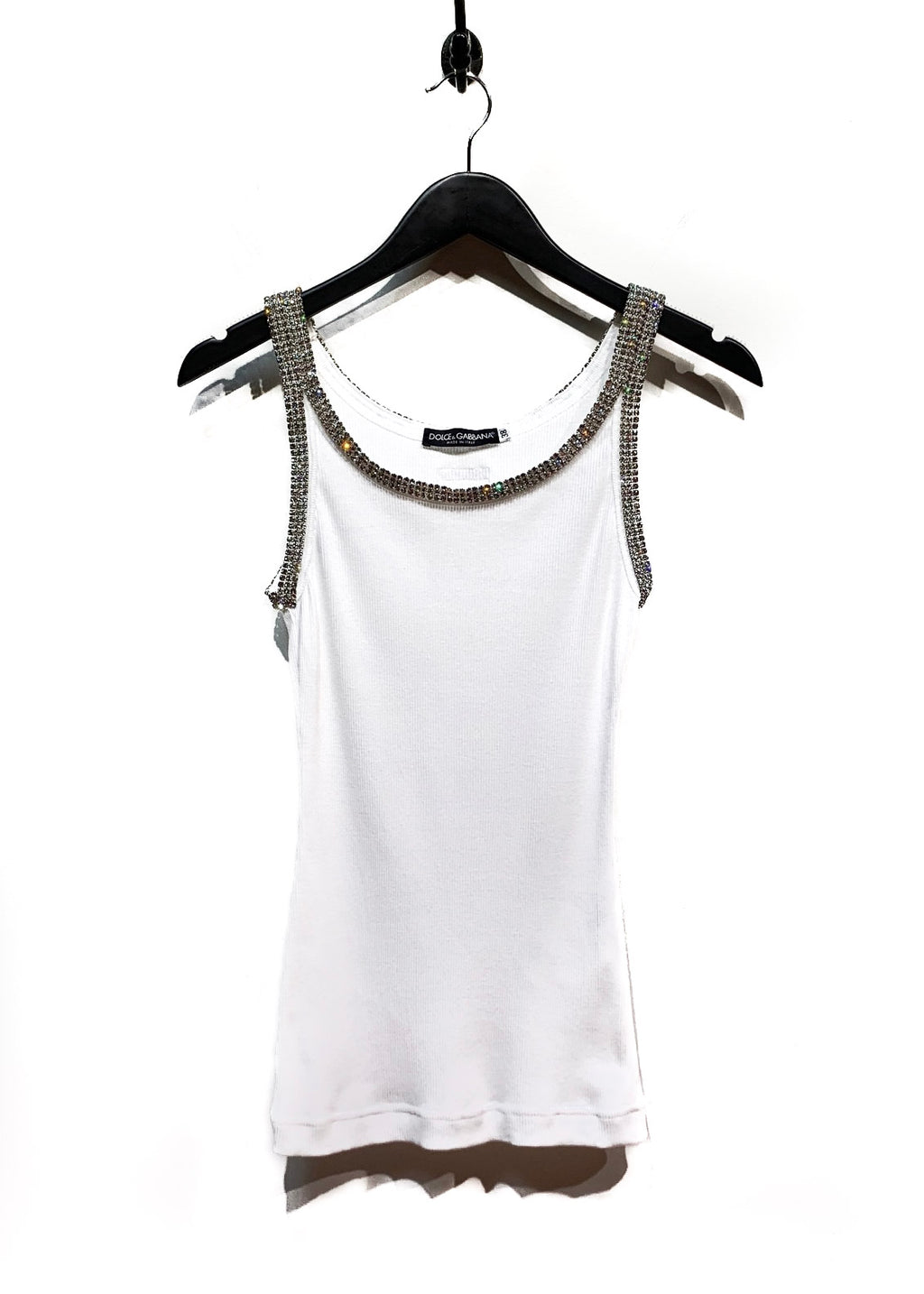 Dolce & Gabbana Crystal Embellished White Ribbed Tank Top