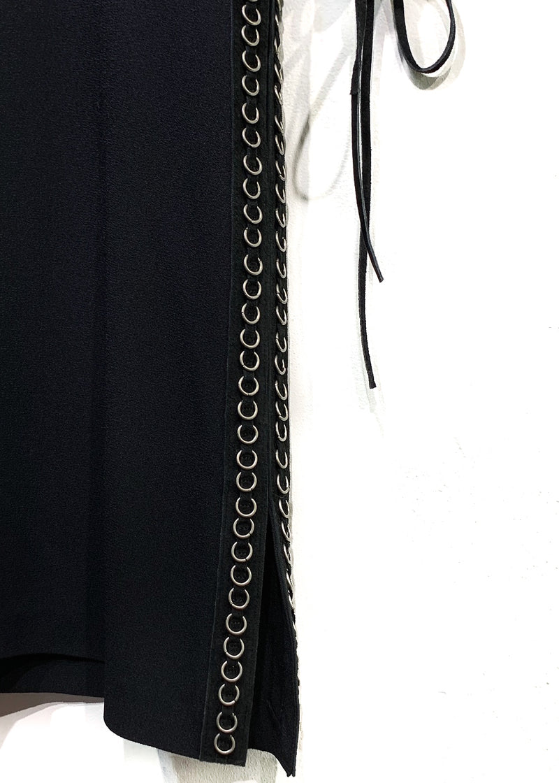 Chloé Black Crepe Dress with Laced Suede Details