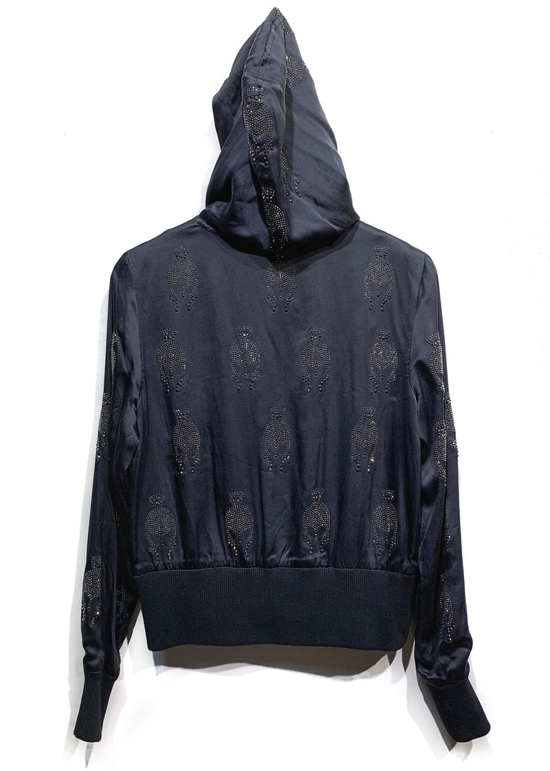 Faith Connexion Black Embellished Zip-up Silk Hoodie