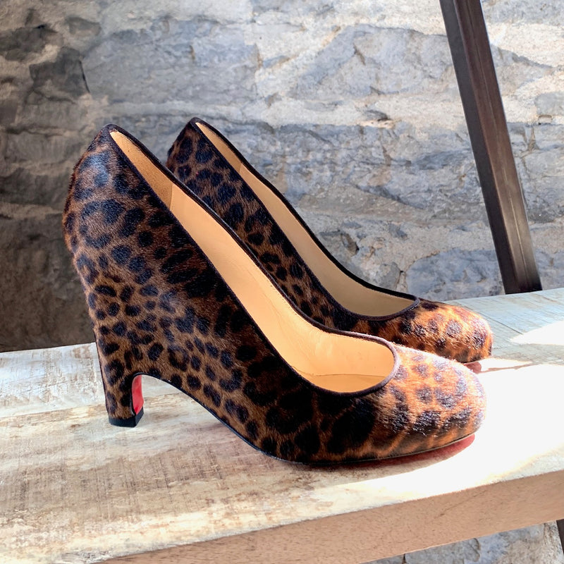 Christian Louboutin Pony Hair Wedge Pumps