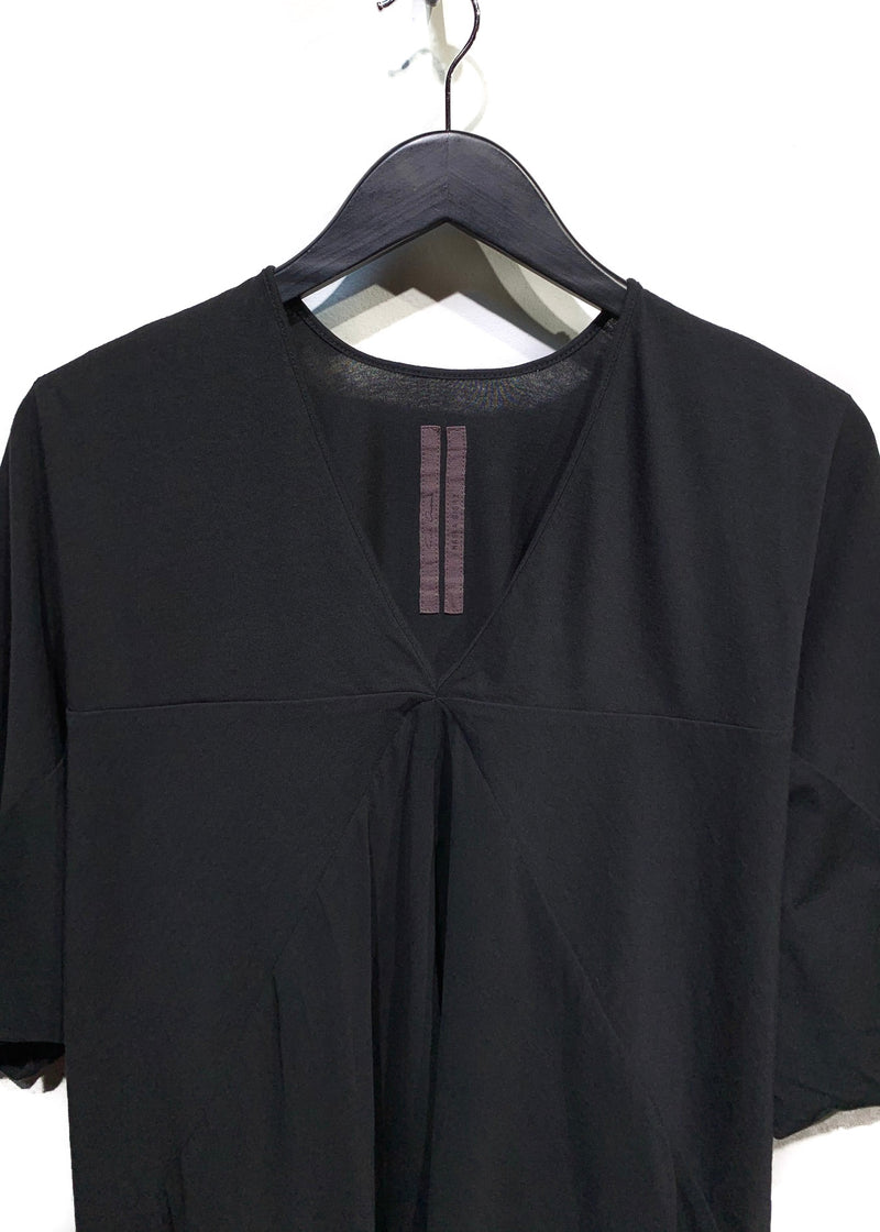 Rick Owens Black V-Neck Cotton T-Shirt with Silk Panel Insert