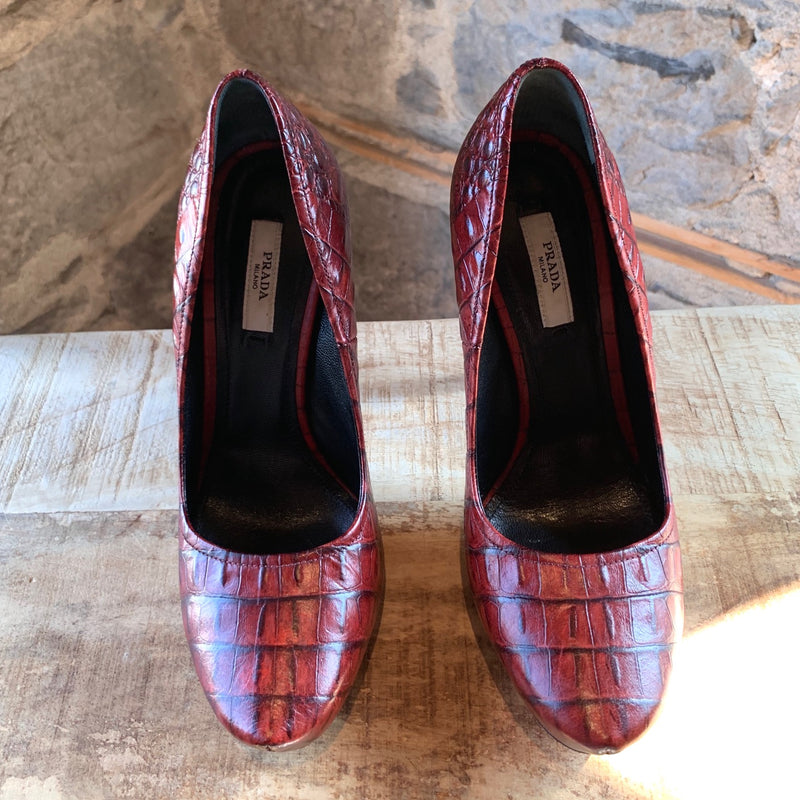 Prada Red Croc Pattern Leather Platform Pumps