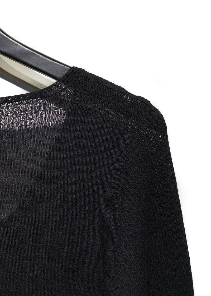 Rick Owens Black Long V-Neck Sweater
