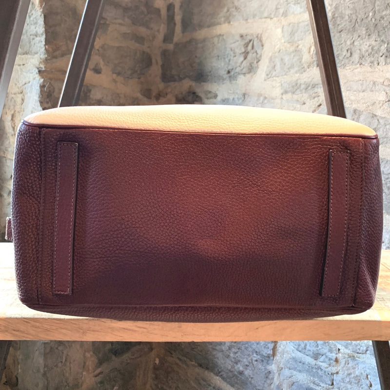 Prada Burgundy White Vitello Daino Leather Boston Travel Bag