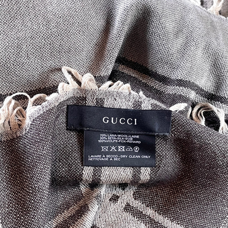 Gucci Brown GG Diamante Fur Trimmed Scarf