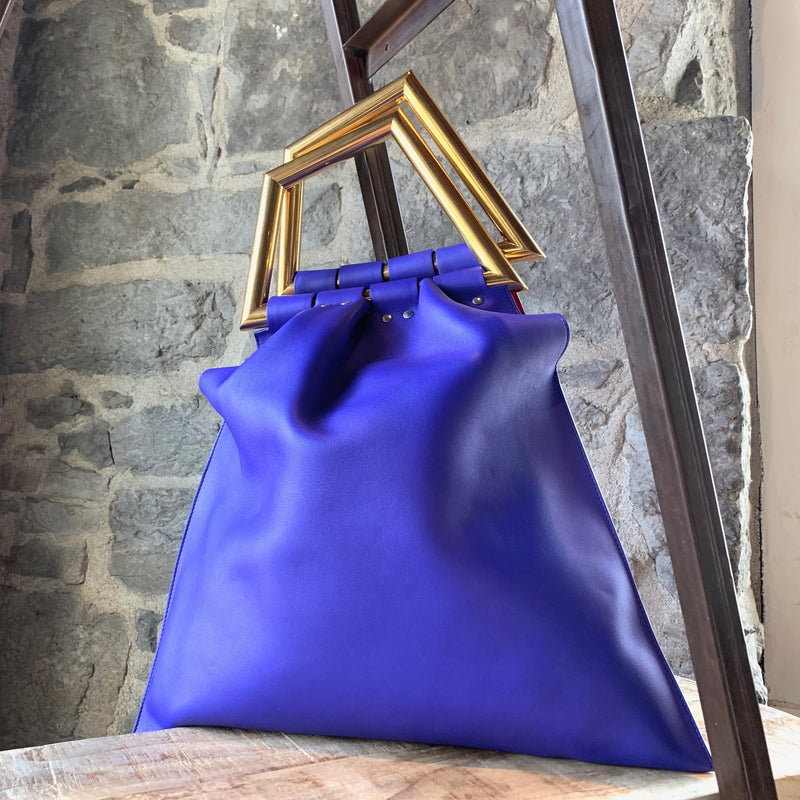 Céline Pheobe Philo 2014 Cobalt Blue Leather Triangle Handle Bag