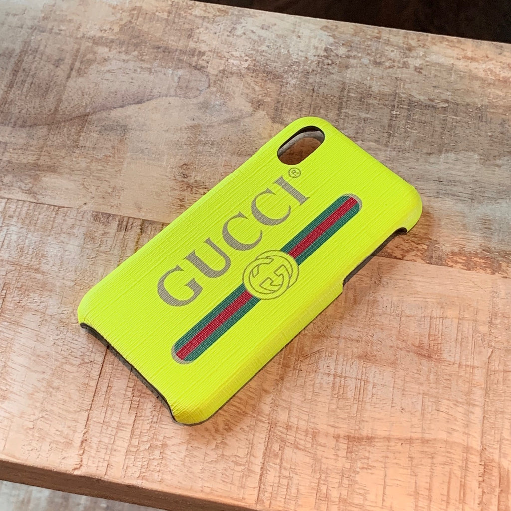 Gucci Neon Yellow Supreme Logo Iphone X-XS Cover
