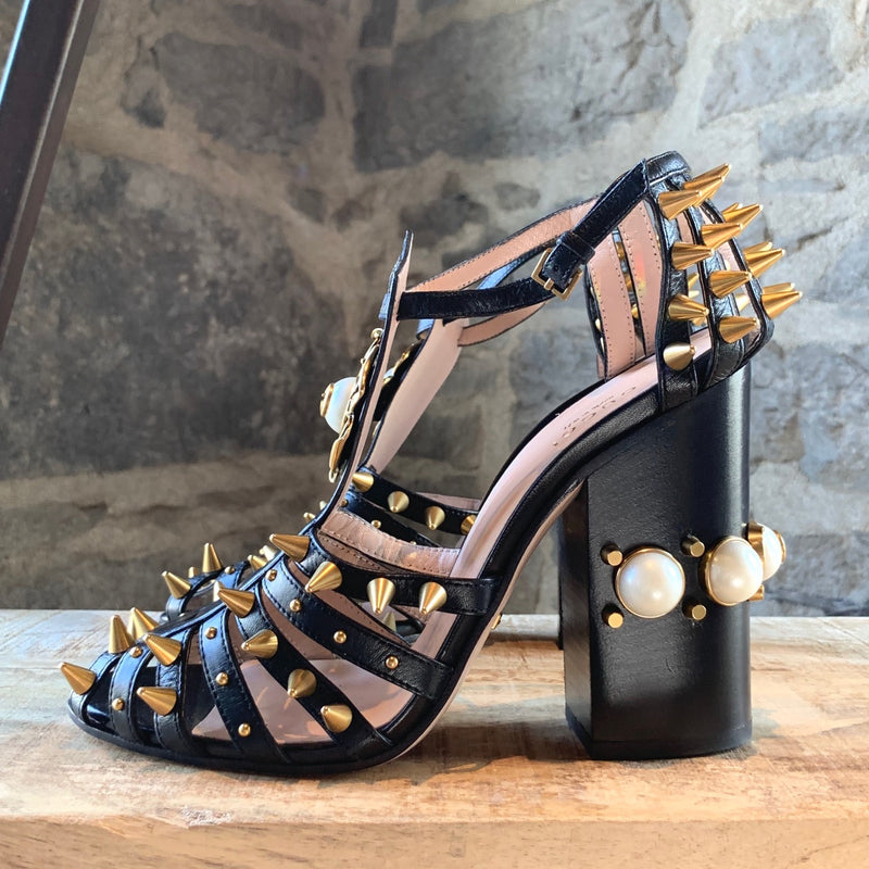 Gucci Kendall Spikes and Pearls Block-Heel Sandals