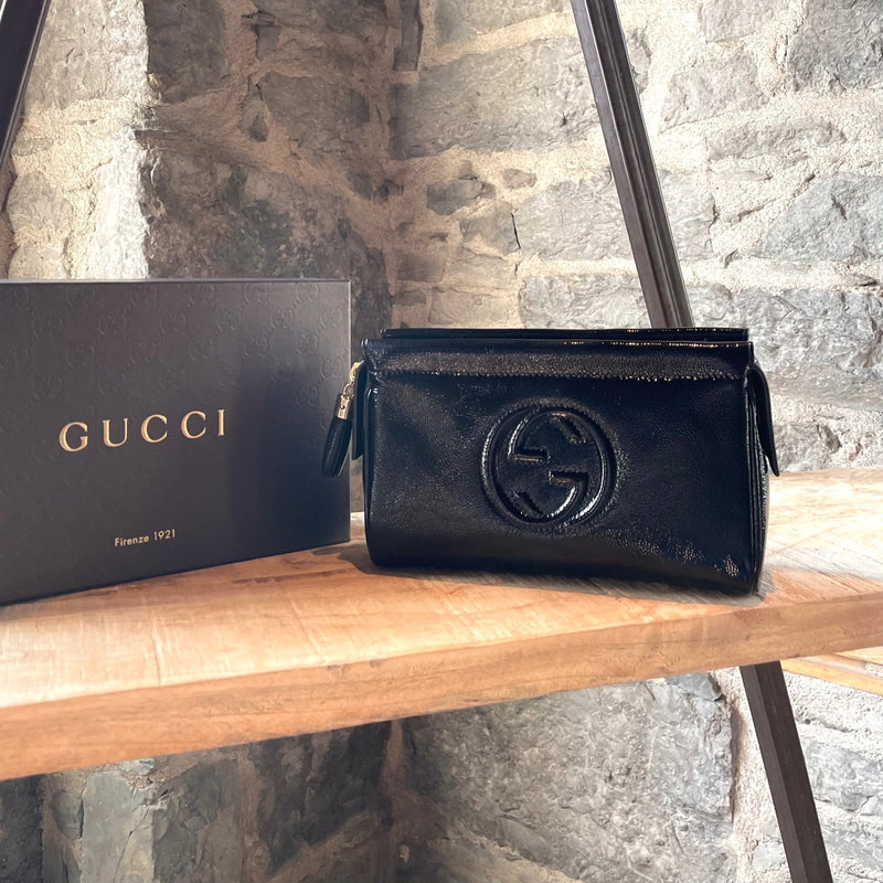Gucci Black Patent Leather Soho GG Cosmetic Pouch