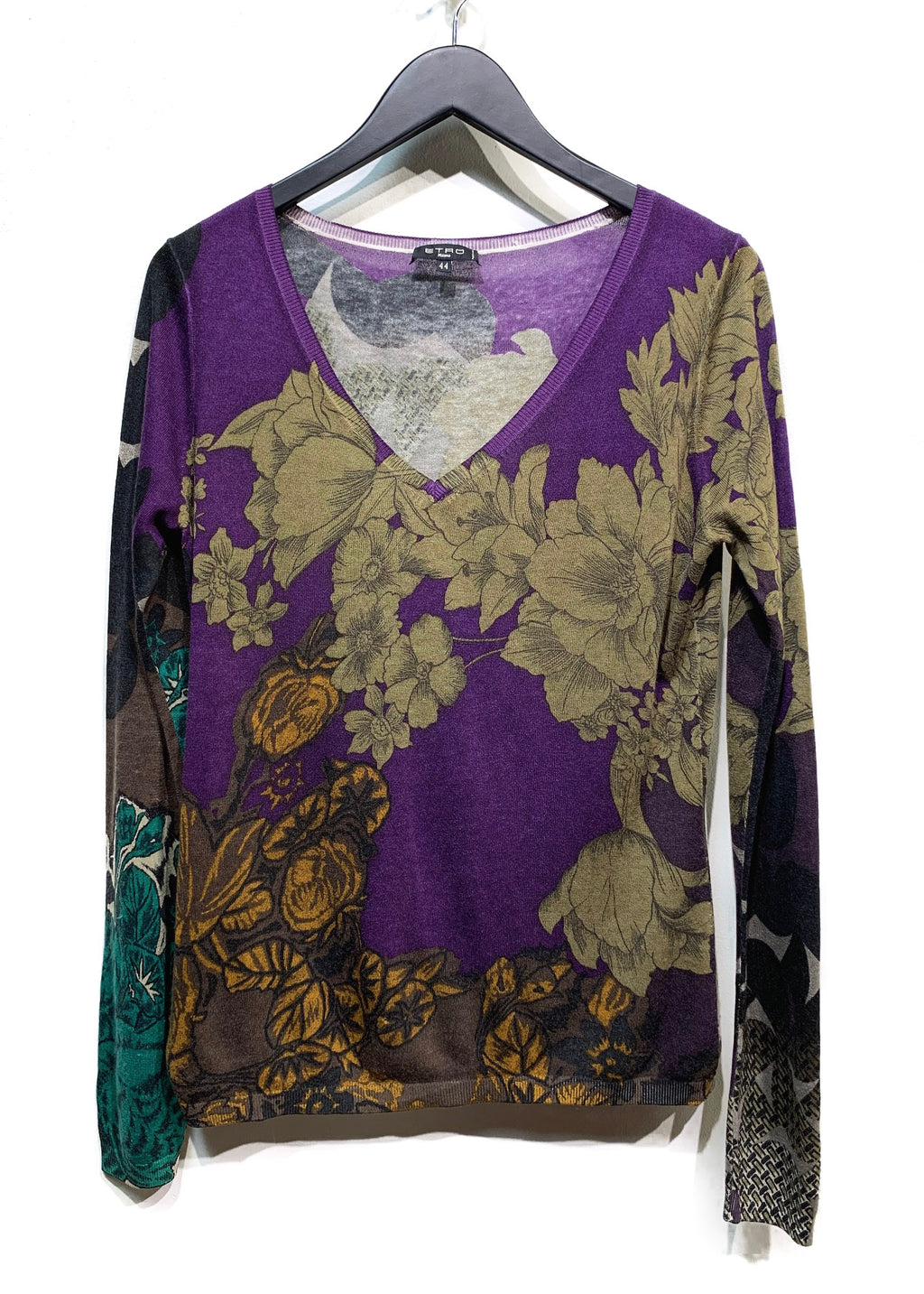 Etro Dark Purple Flower Printed Silk Cashmere V-neck Sweater