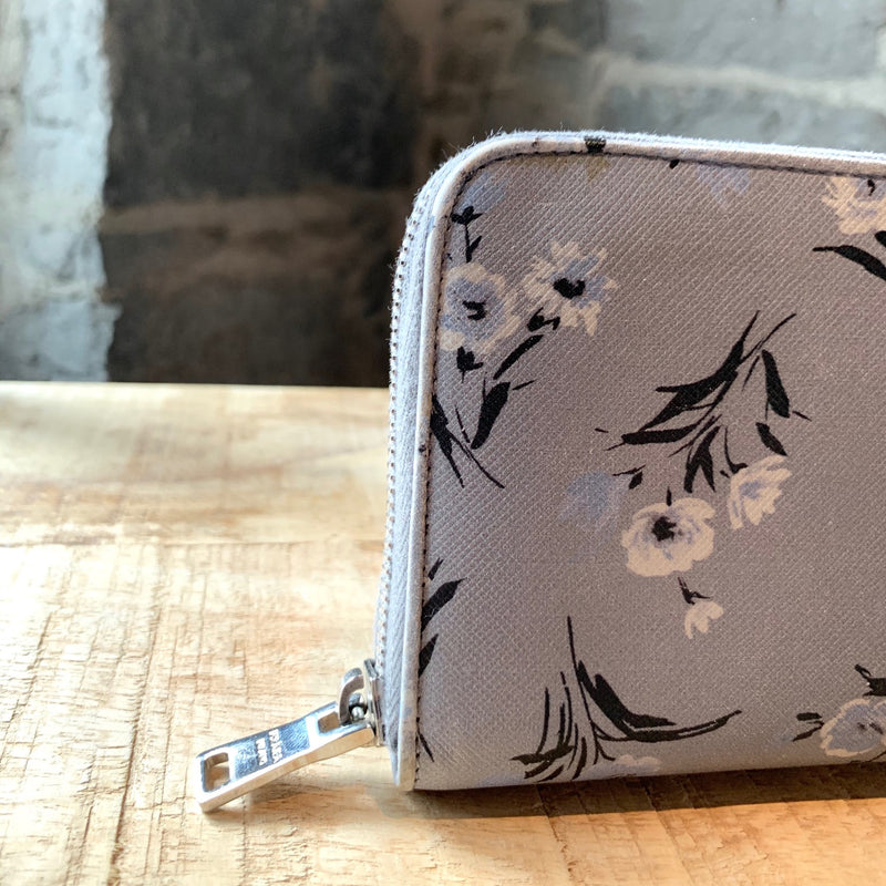 Prada St. Grey Saffiano Floral Print Leather Continental Wallet