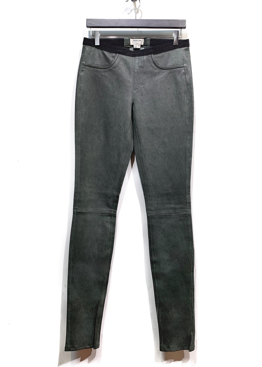 Helmut Lang Khaki Green Stretch Leather Legging Trousers