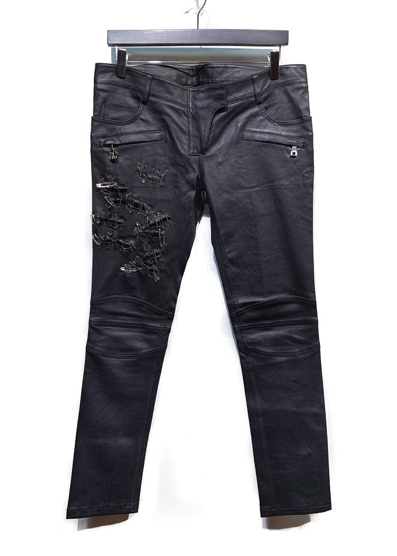 Balmain Safety Pin Black Leather Biker Trousers