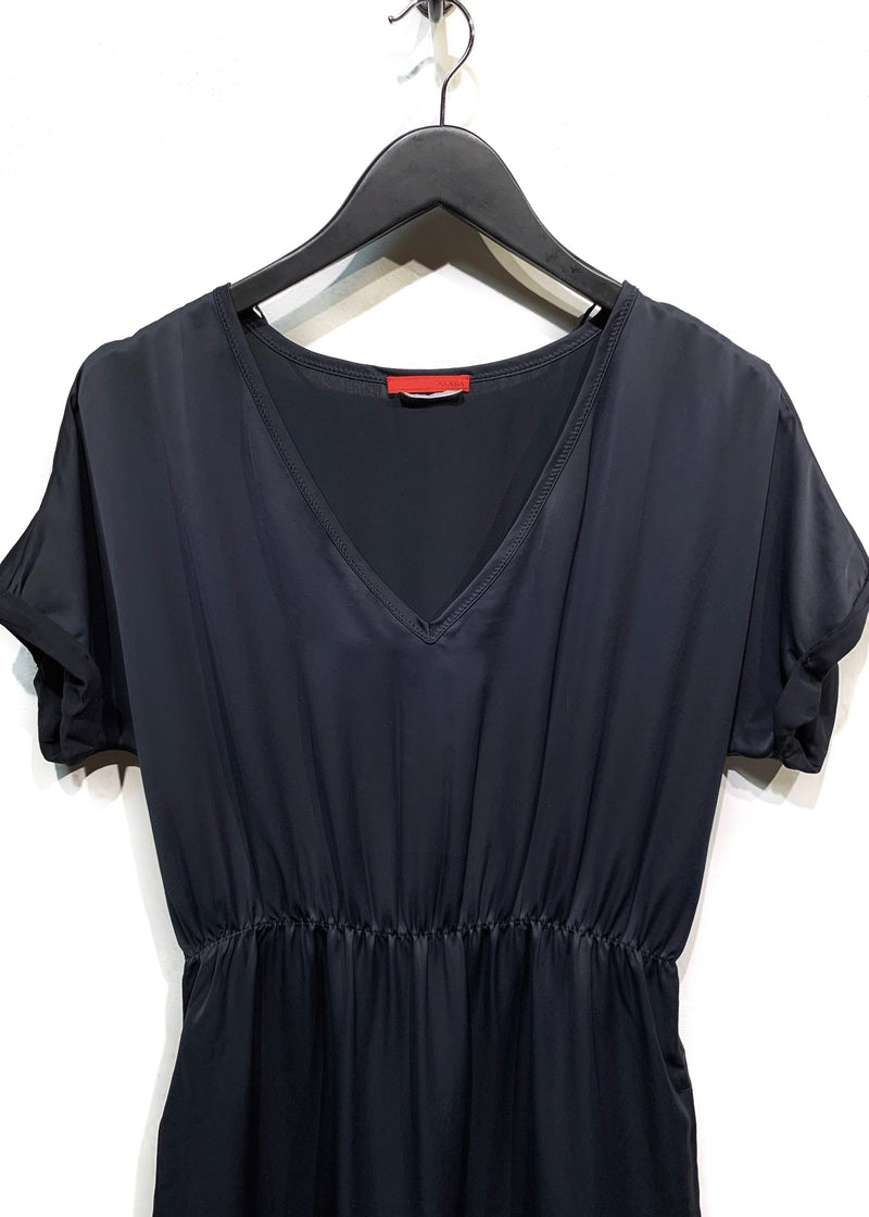 Prada Linea Rossa Midnight Blue Satin Short Sleeves Dress