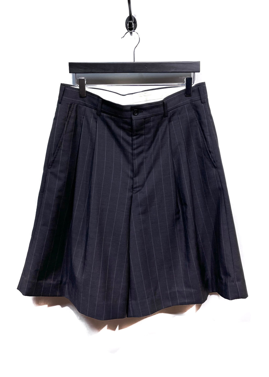 Comme Des Garçons Grey Striped Wide Wool Shorts