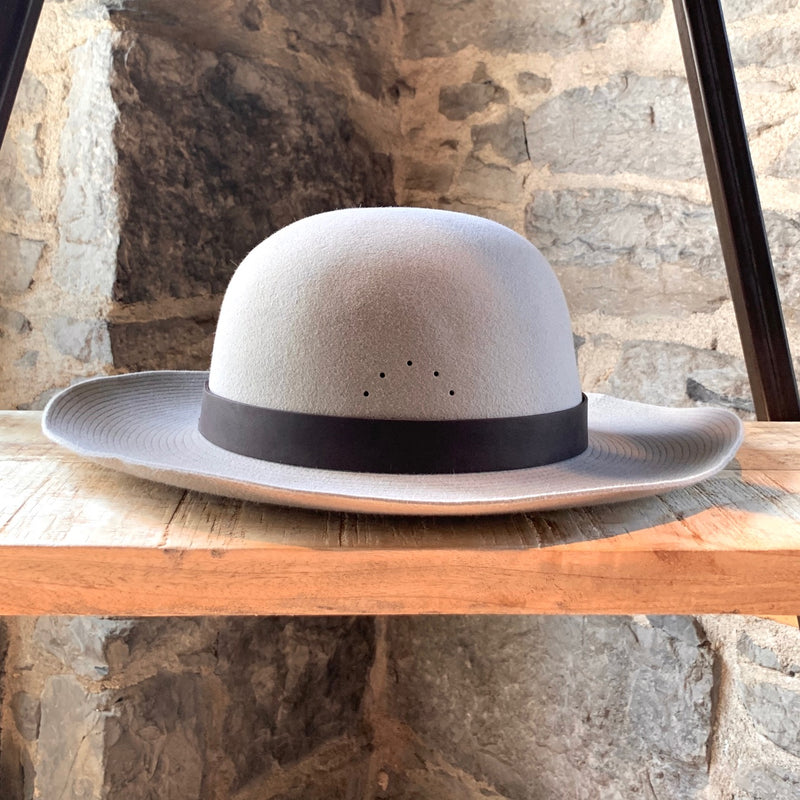 Lanvin Greige Rabbit Felt Perforated Hat