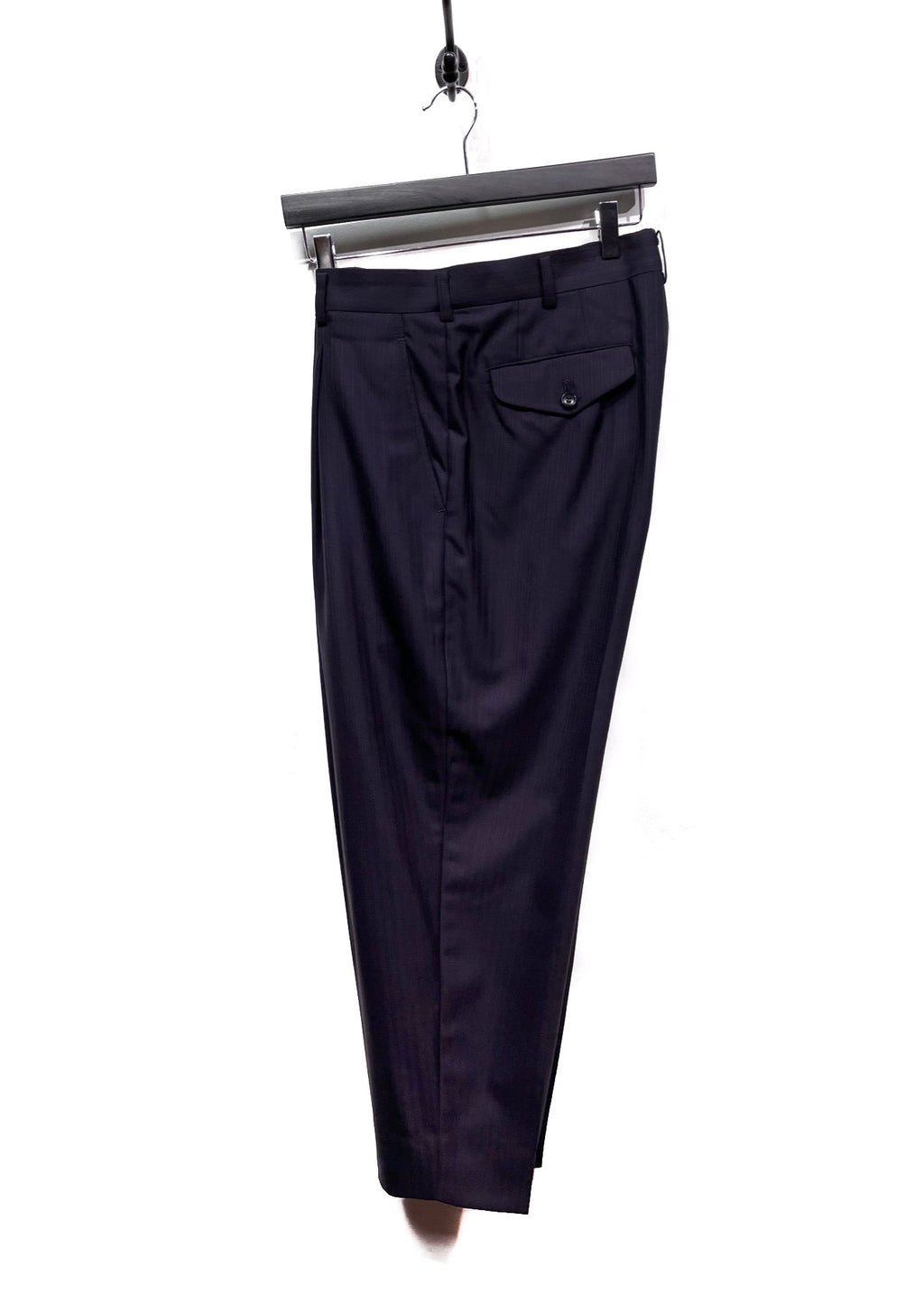 Comme Des Garçons Navy Pinstriped Pleated Trousers