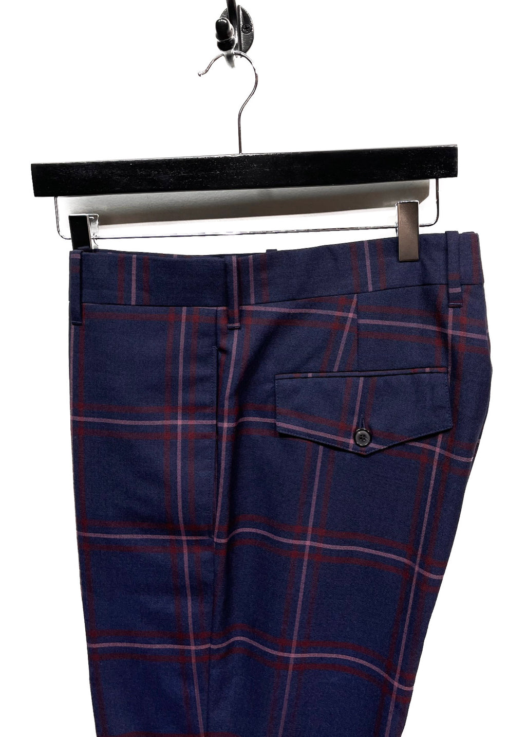 Paul Smith Navy Checkered Cuffed Trousers