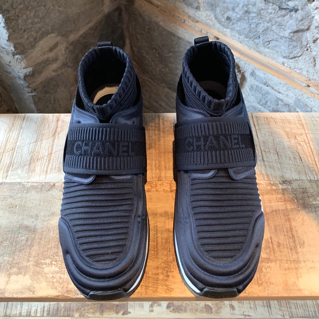 Chanel Black Ribbed Neoprene CC Logo Sock Sneakers