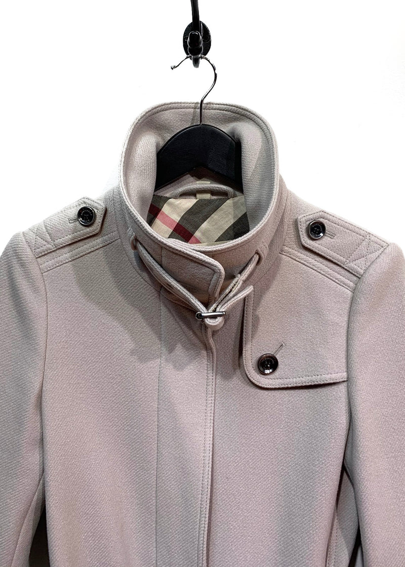 Burberry Brit Greige Rushworth Belted Wool Blend Coat