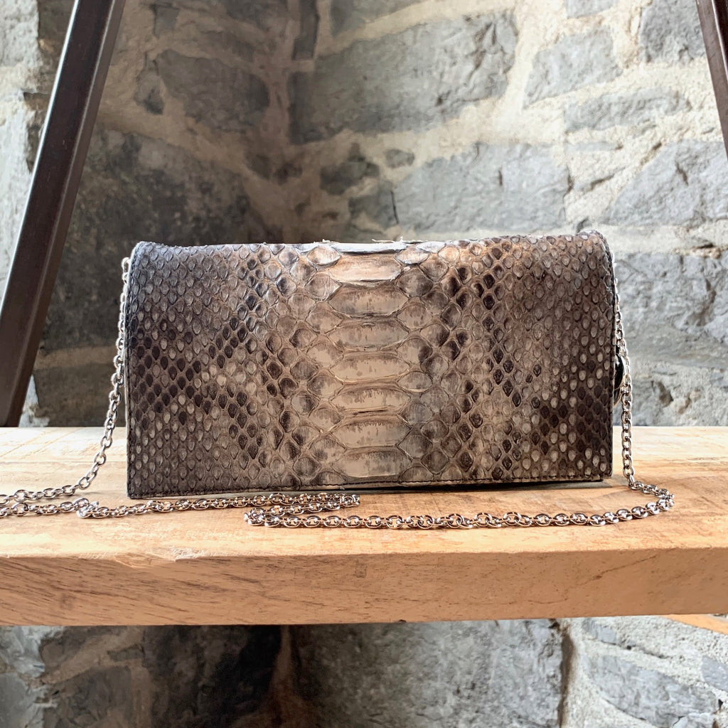 Christian Dior Grey Beige Python Chain Clutch Bag