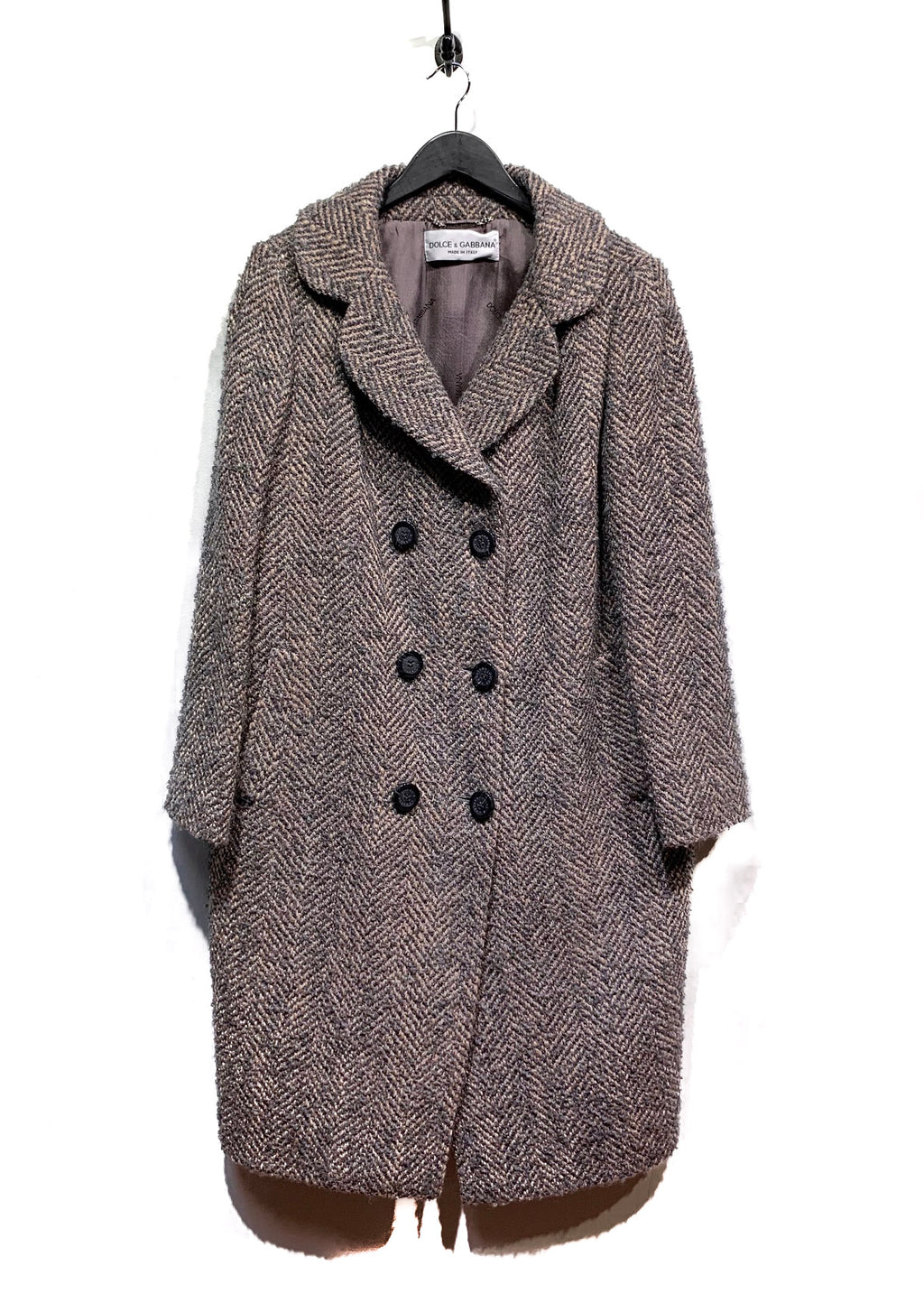 Dolce & Gabbana Brown Wool Herringbone Double Breasted Coat