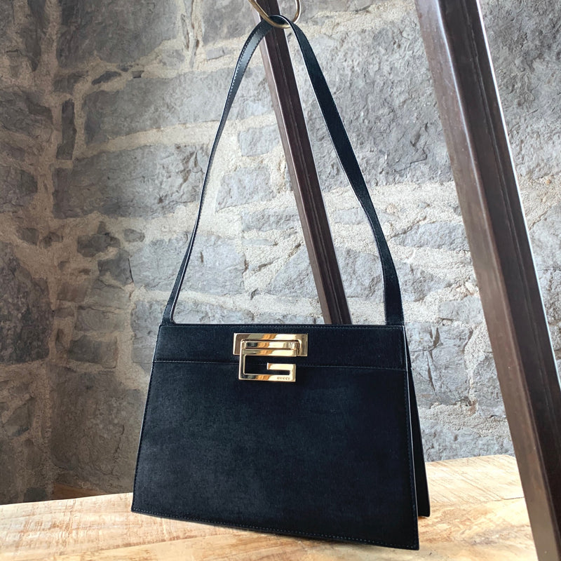 Gucci Vintage Black Suede Gold G Shoulder Bag