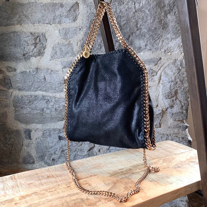 Stella McCartney Black Shaggy Deer Falabella Rose Gold Chain Tote Bag