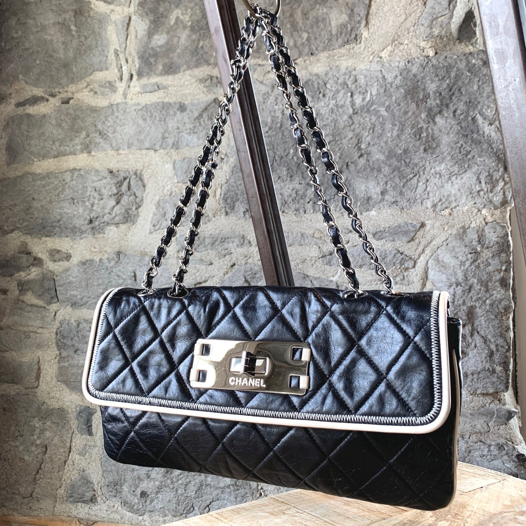 Chanel Black Quilted White Piping Trim East West Flap Chain Bag