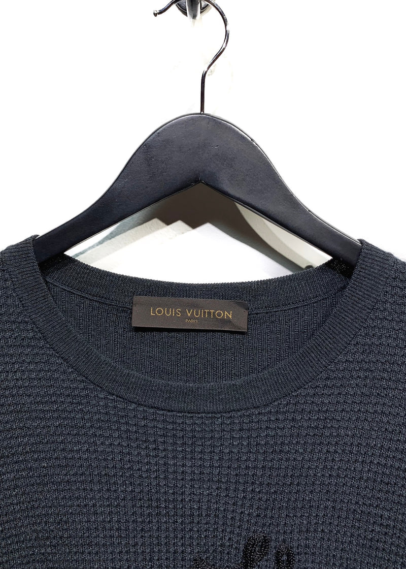 Louis Vuitton Grey Wool Silk Waffled Knit Sweater