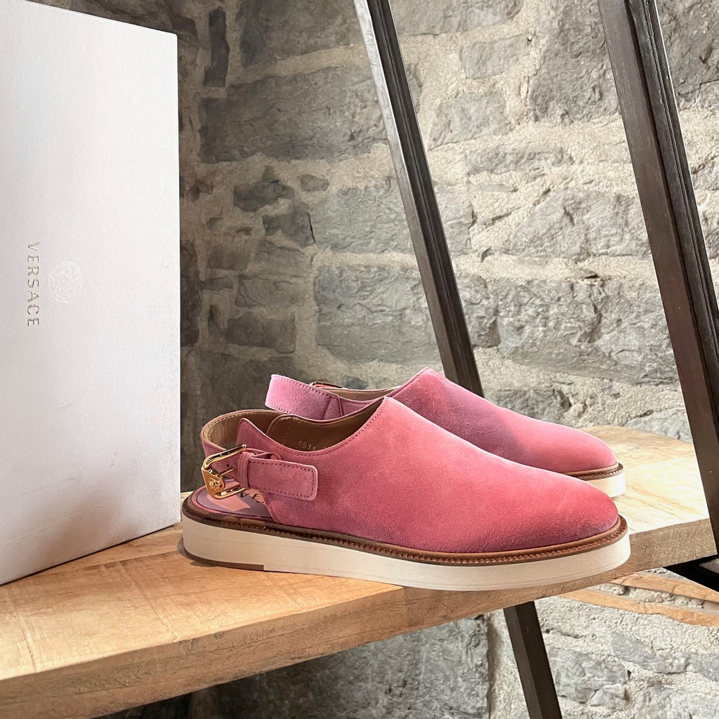 Versace Fuschia Suede Slip-on Shoes