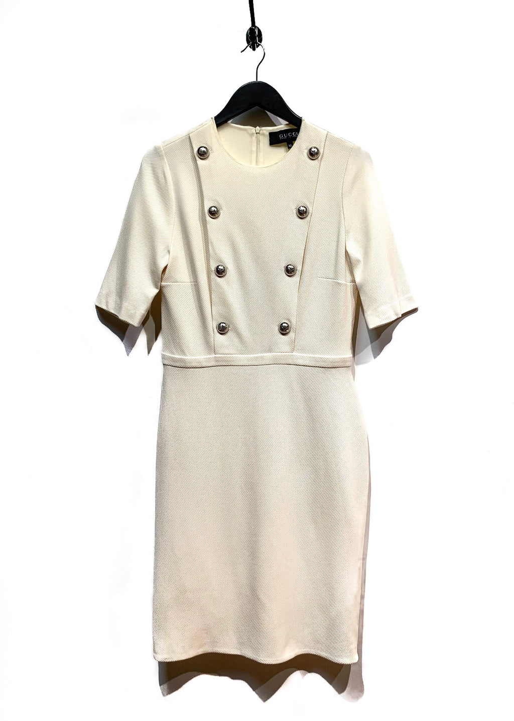 Gucci Ivory Sergé Button Embellished Short Sleeves Dress