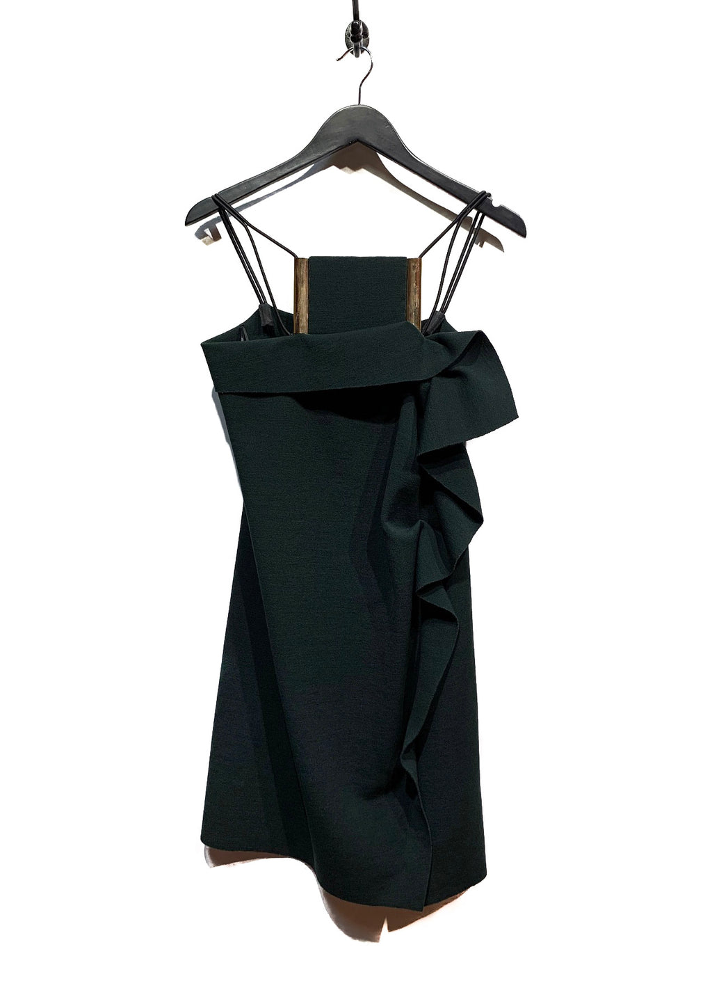 Lanvin Green Forest Wool Neck Statement Piece Dress