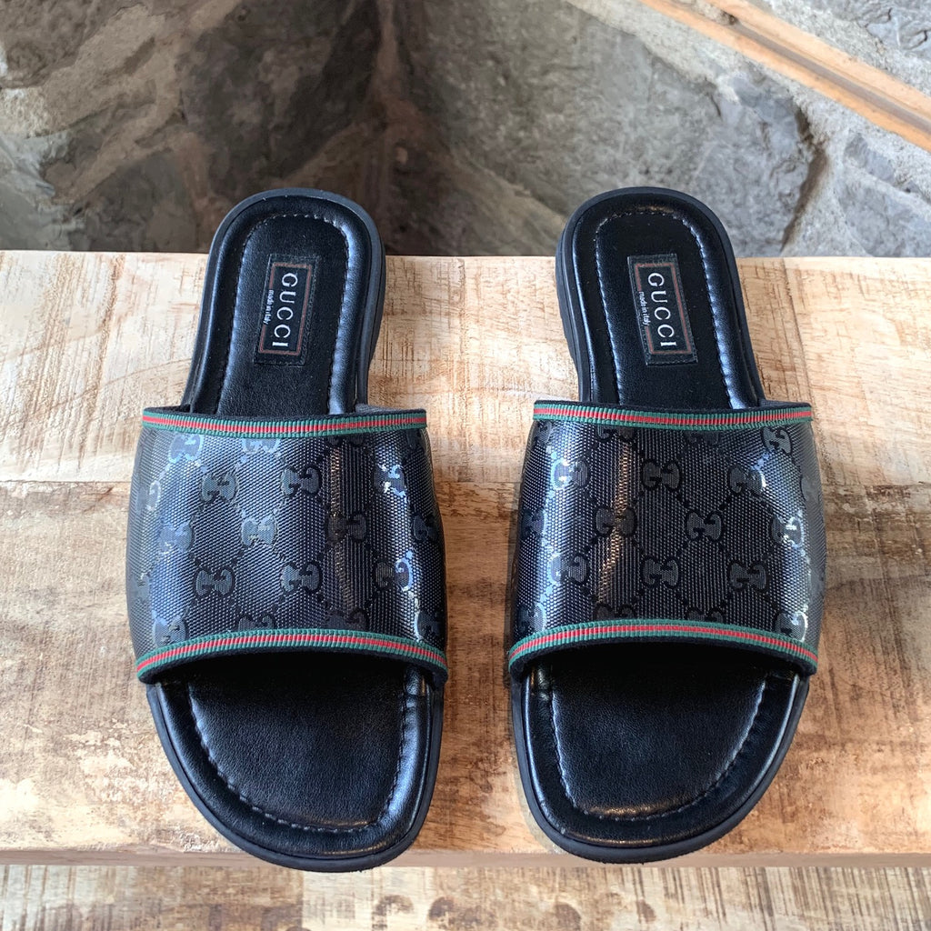 Gucci GG Black Coated Canvas Leather Sandals