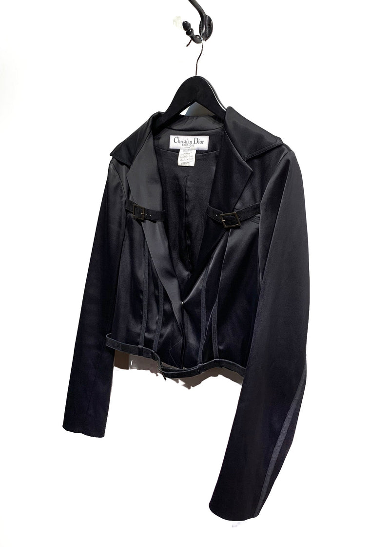 Christian Dior Black Satin Blazer With Straps Detailing