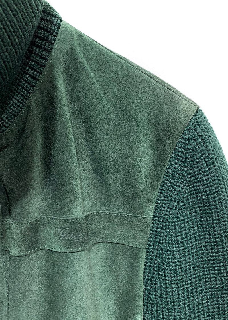 Gucci Green Suede Knit Zip-up Jacket