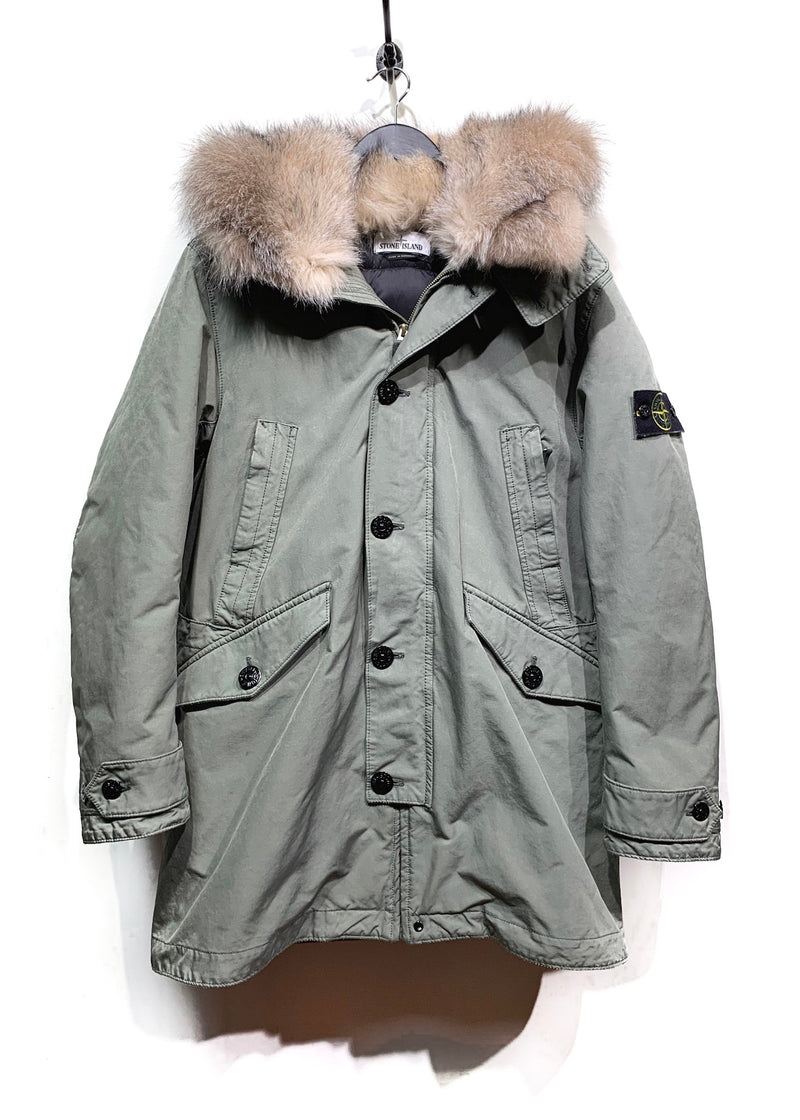 Stone Island Customized Fur Hooded Green Down David-TC Parka