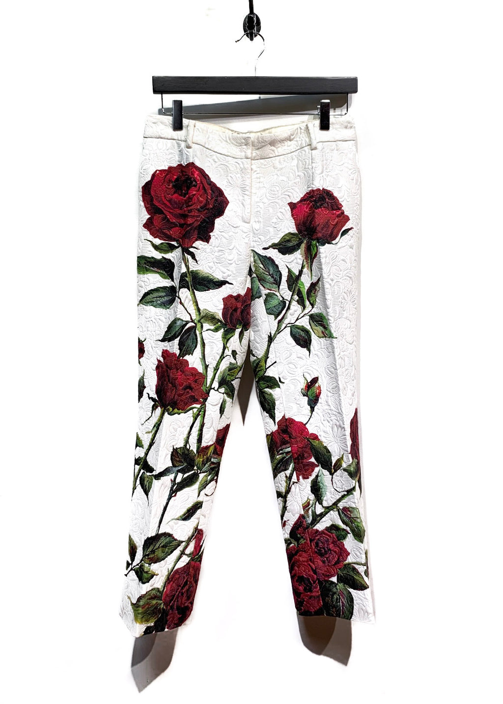 Dolce & Gabbana Rose Print Brocade Cropped Trouser
